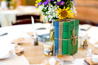 Antique books used as wedding reception decor
