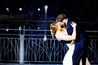Winter Wedding couple dipping at the Coralville Marriott