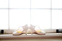 Bridal Shoes on a window ledge